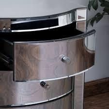 Mirrored Nightstand Sale Amazon Com Jacinda Mirrored Accent 3 Drawer Nightstand Kitchen