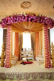 hindu wedding decorations corner of tent garlands and flower bouquet garlands as