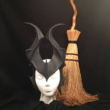 black leather mask halloween witch demon horns matte costume