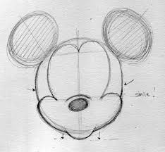 drawn mickey mouse small pencil and in color drawn mickey mouse