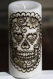 day of the dead home decor henna sugar skull pillar candle white day of the by redwoodhenna