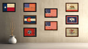 American Flag Decor Usa 50 Vintage American Flag Canvas Print With Black Picture Frame