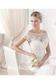 fit and flare mermaid off the shoulder lace wedding dress short