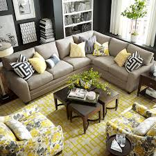 furniture ethan allen sectional sofas in brown with wood coffee