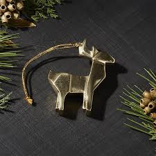mini gold reindeer ornament crate and barrel