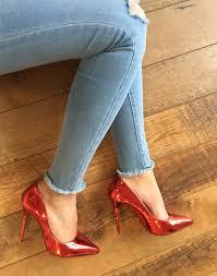 escarpin rouge métallisé chaussure femme pas cher