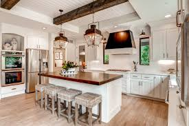 farmhouse kitchen lighting white spray paint wooden island