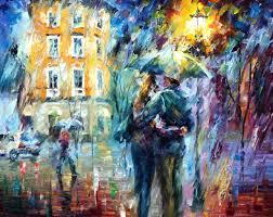 city rain u2014 palette knife oil painting on canvas by leonid afremov