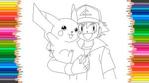 pokemon coloring pages l pikachu and ash ketchum coloring book