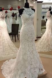 halter mermaid sleeveless lace wedding dress