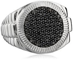 silver diamonds rings images Men 39 s sterling silver and black diamond ring 1 2 cttw jpg