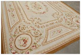 shabby chic blue aubusson rug cream with pink roses and gold hues