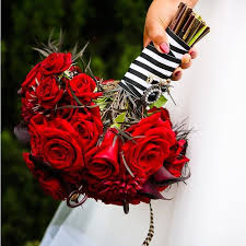 Red Rose Bouquet Red Roses Bouquet With Striped Ribbon Bouquet Wedding Flower