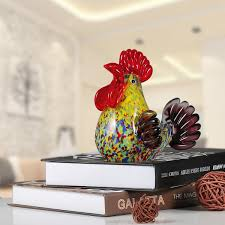best and cheap glass tooarts multicolor rooster glass sculpture