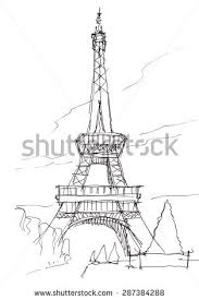 pencil drawing cathedral eiffel tower paris stock illustration