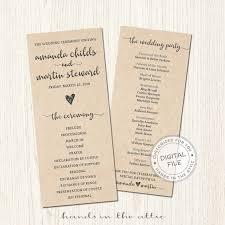 Order Wedding Ceremony Program Kraft Wedding Ceremony Program Bridal Party Lineup Order Of