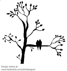 silhouette of a tree with leaves with two birds sitting on a