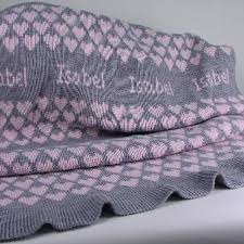 personalized knit baby blanket pink gray personalized baby