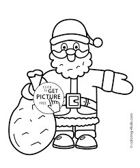 santa claus christmas coloring pages for kids printable free