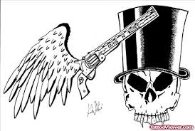 grey ink winged gun and skull with hat tattoo design tattoo