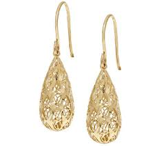 gold teardrop earrings 14k gold diamond cut filigree design teardrop earrings page 1