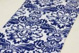 blue and white table runner damask tamara hundley events