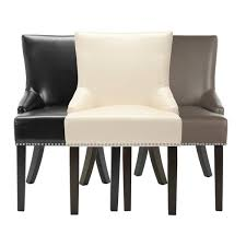 Beige Leather Dining Chairs Safavieh Loire Leather Nailhead Dining Chairs Set Of 2 Free