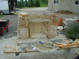 How To Lay Brick Fireplace by How To Build A Wood Burning Brick Outdoor Fireplace Hirerush Blog