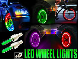 led car and bicycle wheel lights pair