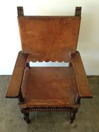 Armchair In Spanish Spanish Style Venadillo Wood And Leather Chairs Mexico 1940s