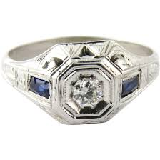 antique men u0027s art deco 18k white gold diamond and sapphire ring