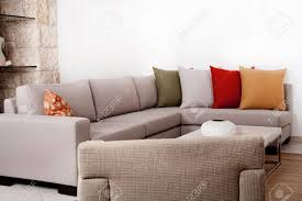 Modern Couch Modern Couch Withe Coloured Pillow Stock Photo Picture And