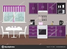 kitchen cabinets what color table kitchen in a purple color there are kitchen cabinets a stove a coffee machine a kettle a table with chairs a window and other objects in the