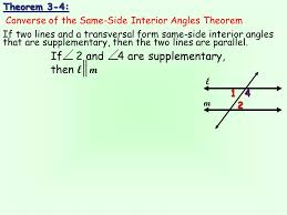 Same Side Interior Angles Postulate Chapter 3 Lesson 2 Objective Objective To Use A Transversal In