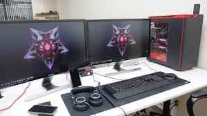 pc gaming desk setup ed u0027s epic desk setup tour jan 2015 youtube