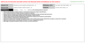Machine Operator Resume Sample by Blow Molding Machine Operator Resume Sample
