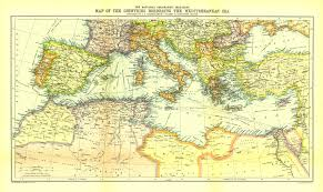 Map Of Mediterranean Countries Countries Of The Mediterranean Sea 1912 Map Maps Com