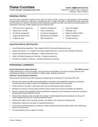 Resume Format For Freshers Mechanical Engineers Free Download Aviation Resume Template