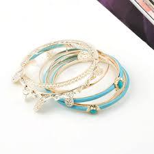 bracelet sets fashion turquoise bangle charm stacked bracelet set wholesale