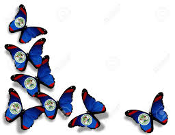 Belize Flag Belize Flag Butterflies Isolated On White Background Stock Photo