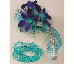 turquoise corsage wrist corsage teal purple dendrobium orchids in bloomington