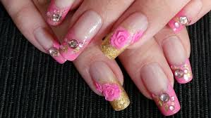 pink u0026 gold glam nail art with acrylic 3d roses tutorial youtube