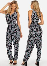 stylish jumpsuits pack sleeveless v neck 2 pocket printed stylish jumpsuits