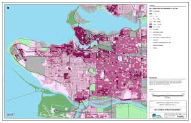 Map Vancouver Canada by 2011 Census Population Density At Three Scales In Vancouver