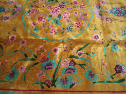 Nichols Chinese Rugs A Nichols Chinese Art Deco Rug With Marigold Mustard Field At 1stdibs