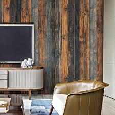 haokhome vintage wood wallpaper rolls brown black blue wooden