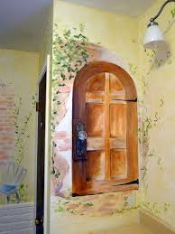bathroom mural ideas impressionistic doors give bathroom the feeling of provence