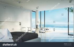 modern bedroom sundeck on sea view stock illustration 430169860