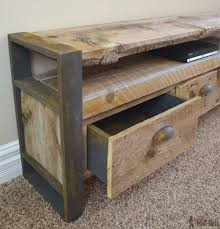 rustic media console table her tool belt