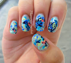 plumeriapainted abstract bird nail art